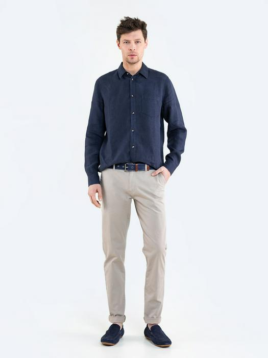 Бежевые однотонные брюки HEKTOR 805