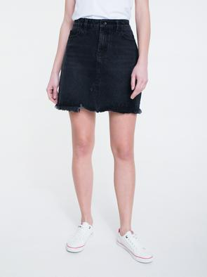 Джинсовая мини-юбка с необработанным краем DENA 998