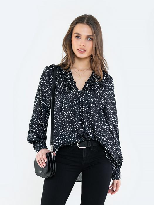 Блузка в горошек с v-образным вырезом DOTSA 906
