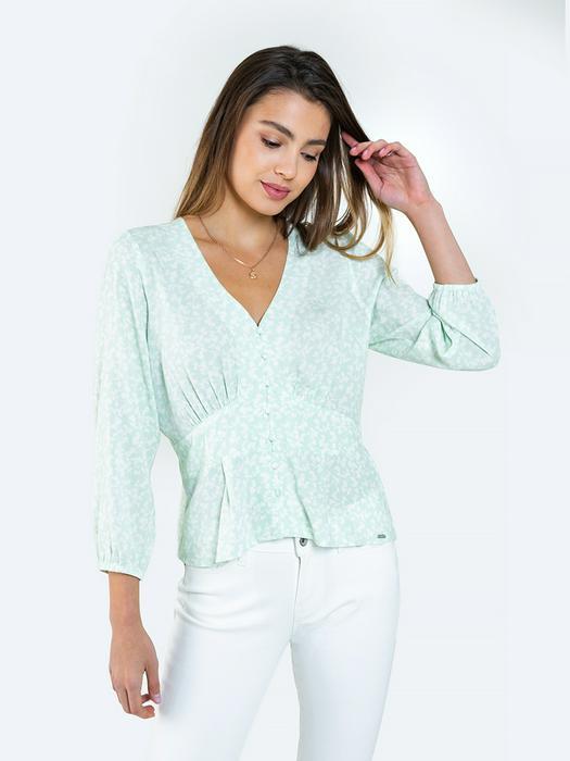 Блузка с цветами и v образным вырезом MELISKA 300