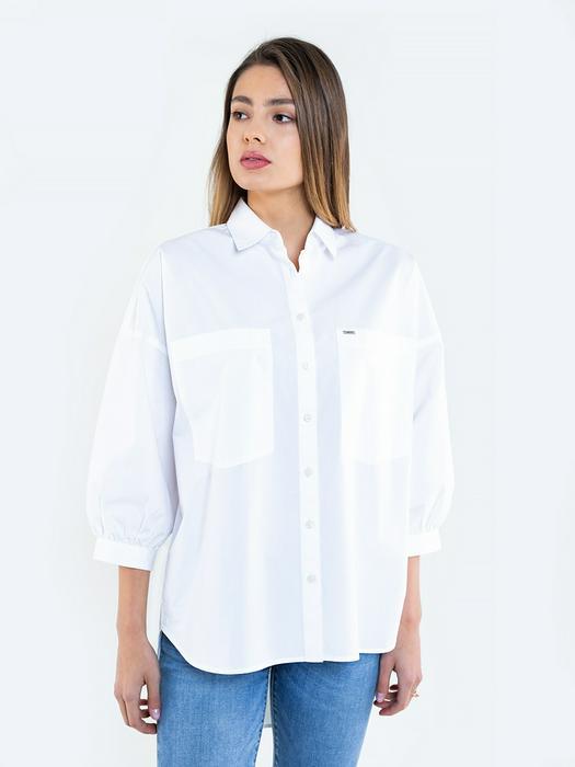 Белая рубашка оверсайз с рукавами буфами BUFFI 101