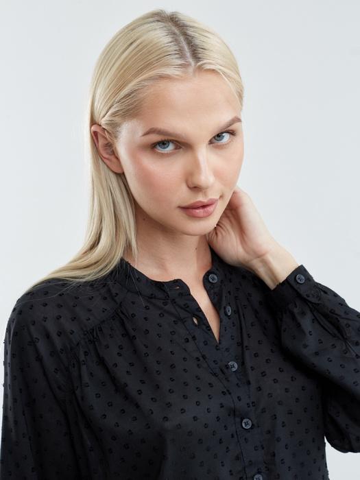 Рубашка с длинным рукавом в мелкий горошек RUNONA 906