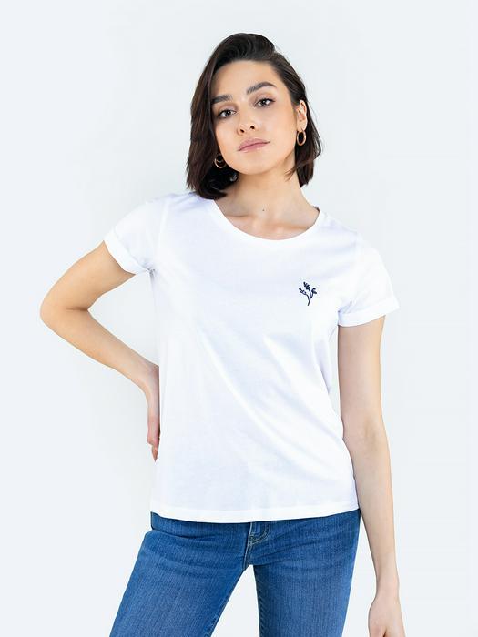 Белая однотонная футболка VICENTA 101