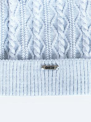 Голубая шапка с помпоном VALENTINA 400