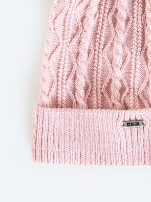 Розовая шапка с помпоном VALENTINA 600