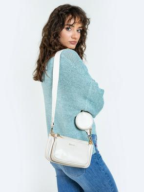 Белая сумка через плече с кошельком MILTY 800