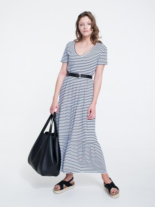 Длинное платье в полоску с v образным вырезом KATELYN 403