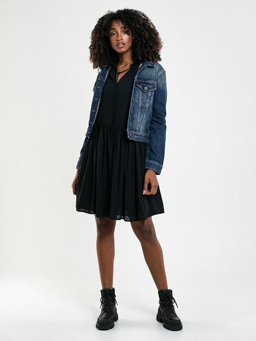 Чёрное платье с длинным рукавом TELUNA 906
