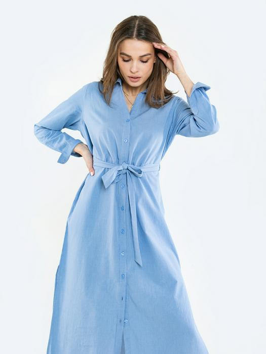 Платье рубашка с завязывающимся поясом CLOTI 401