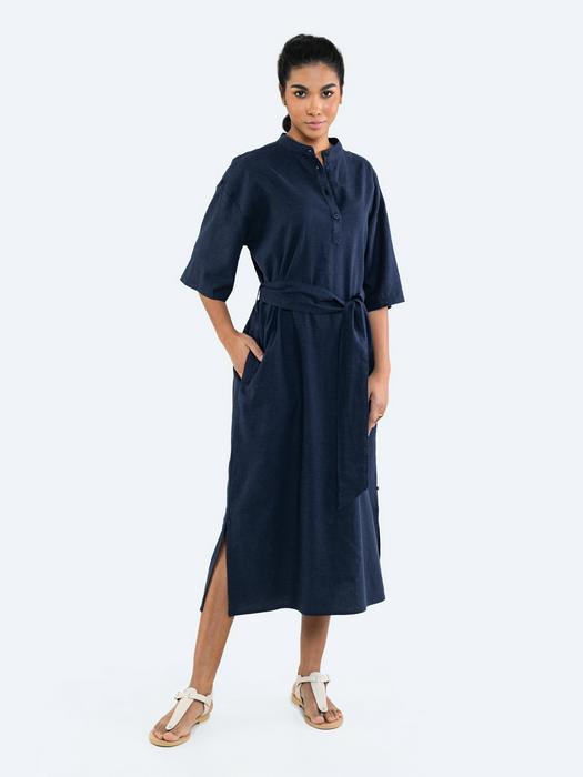 Льняное платье рубашка с поясом VANESSI 404