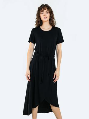 Чёрное платье миди с поясом HENRIETTA 906