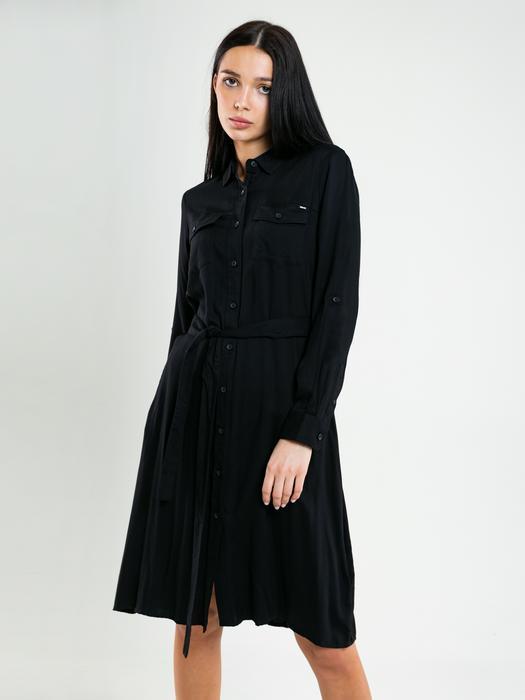 Чёрное платье рубашка с поясом LILLIANA 906