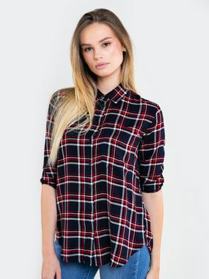 Удлинённая  рубашка в клетку MADILYNN 404