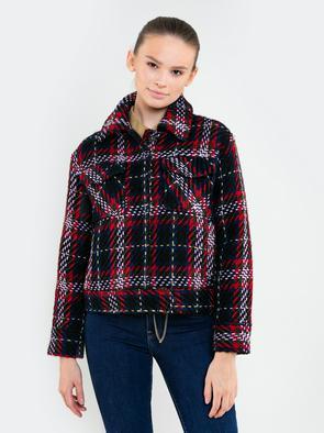 Короткая куртка с воротником в клетку с добавлением шерсти MARISA 000
