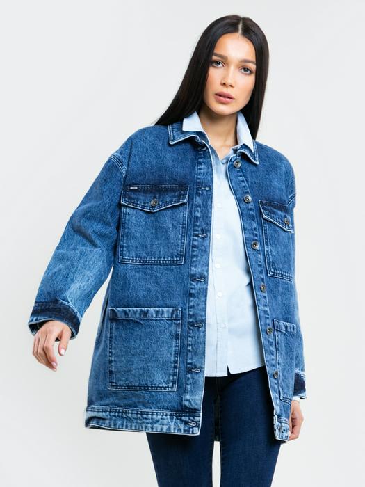 Классическая голубая рубашка PERLANA 401