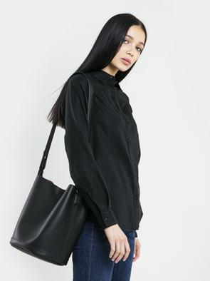 Чёрная женская рубашка с длинными рукавами PERLE 906