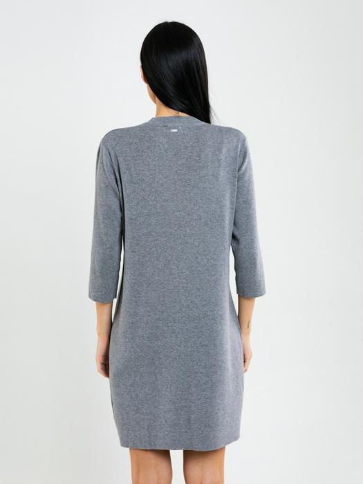 Классическое серое платье с примесью шерсти RUIHAHA 902